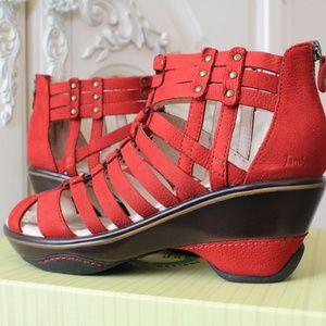 Jambu Sugar Red Strappy Gladiator Wedge Sandal